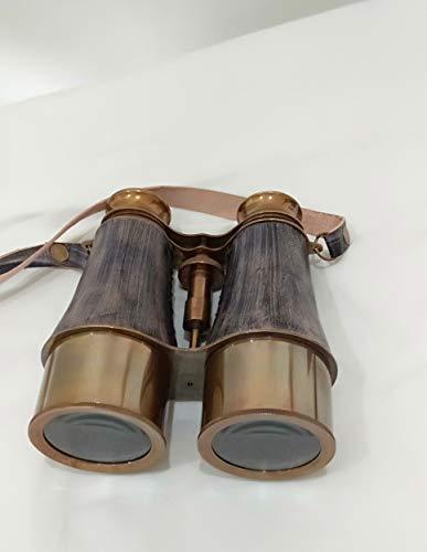 Dekor Mobilya New Handmade Marine Victorian Brass Binocular Gray Leather Buffed Leather Cover Belt, 6 inches