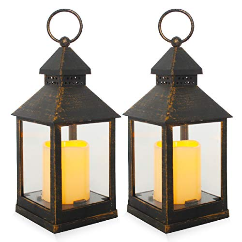 Decorative Lanterns,Hanging LED Lantern Timer Candles,Black Brown Vintage Style Battery Operated Candles Lanterns for Outdoor & Indoor,Wall,Table,Patio,Porch,Party,Garden,2 Pack