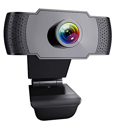 ieGeek Webcam con Microfono, 1080P FHD PC Portatile Desktop USB 2.0 Videocamera per Teleconferenza, Videochiamate, Studio, Conferenza, Registrazione, Gioca a Giochi e Lavoro a casa