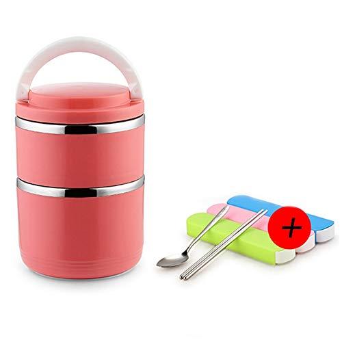 LSXIAO-Bento Boxen 2-4 Schichten Stapelbar Lebensmittelmanagement Edelstahl-Liner Mit Geschirr Büroarbeit Outdoor Tragbar, 3 Farben, 3 Kapazitäten (Color : Red, Size : 1500ML)