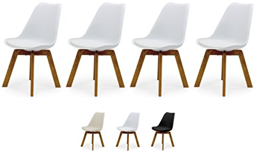 Tenzo Cleo 3340-454 4er-Set Designer Stühle, Holz, Weiss, 82 x 48 x 54 cm (Hxbxt), Kunststoffsitzschale mit Kunstledersitzkissen, Weiss/Eiche, Polypropylen