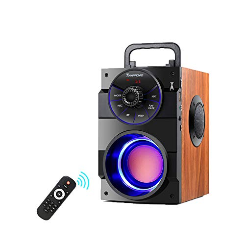 TAMPROAD Portable Bluetooth Speakers with woofer, FM Radio, LED Lights, EQ, Booming Bass, Bluetooth 5.0 Wireless Stereo Powerful Outdoor/Indoor Party Speakers for Home, Camping, Travel