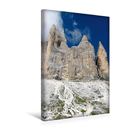 CALVENDO Premium Textil-Leinwand 30 cm x 45 cm hoch, DREI Zinnen | Wandbild, Bild auf Keilrahmen, Fertigbild auf echter Leinwand, Leinwanddruck: In den Dolomiten Orte Orte