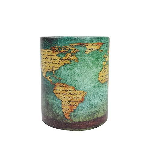 Emartbuy Rotondo Tessuto in Pelle PU Designer Supporto Per Penna Matita - Mappa del Mondo