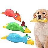 Juguete de látex para Perros Squeaky 3 Piezas Chillidos de Pollo de Goma Gritando Juguetes para Entrenamiento de Perros pequeños y medianos, Verde/Amarillo/Rojo