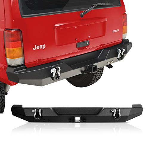 KML Steel Rear Bumper with Hitch Receiver and D-ring Fit for 84-01 Cherokee XJ
