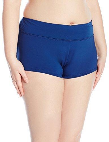 Cole of California Women's Plus-Size Super Solids Twist Front Boy Short Bikini Bottom, Navy, 18