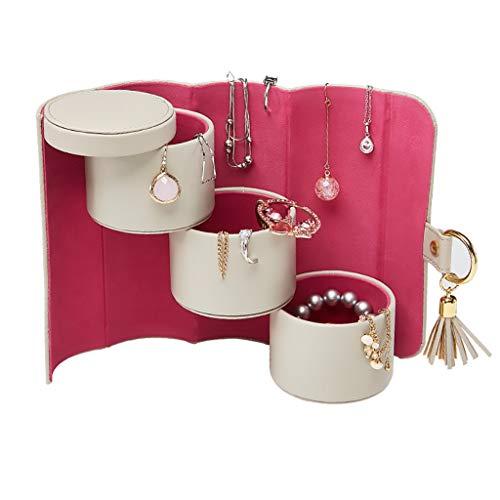ZRJ Caja para Joyas Organizador de Caja de joyería portátil 3 Capas Caja de joyería de Cuero sintética Mostrar Caja Pendientes Collar Cajas (Color : Beige)