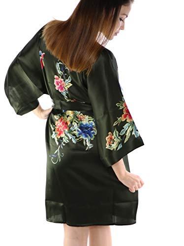 prettystern Bata de Kimono de Seda hasta la Rodilla Bata Chaqueta Estampado...
