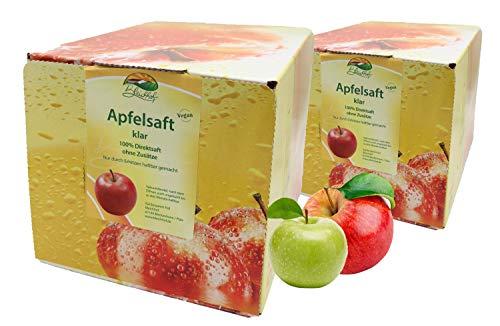 Bleichhof Apfelsaft klar - 100% Direktsaft, OHNE Zuckerzusatz, Bag-in-Box mit Zapfsystem (2x 5l Saftbox)