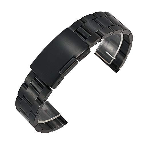 RHBLHQ 18 mm 20 mm 22 mm de Acero Inoxidable Reloj Banda de Metal sólido clásico Correa Correa for Reloj de Pulsera con los contactos (Band Color : Black, Band Width : 22mm)