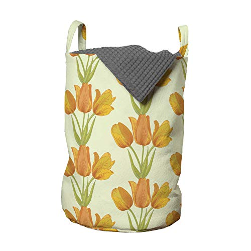 Lunarable Tulip Laundry Bag, Romantic Bouquet Tile Shape with Tulip Garden Field Garland Iteration, Hamper Basket with Handles Drawstring Closure for Laundromats, 13' x 19', Orange Green Pale Green