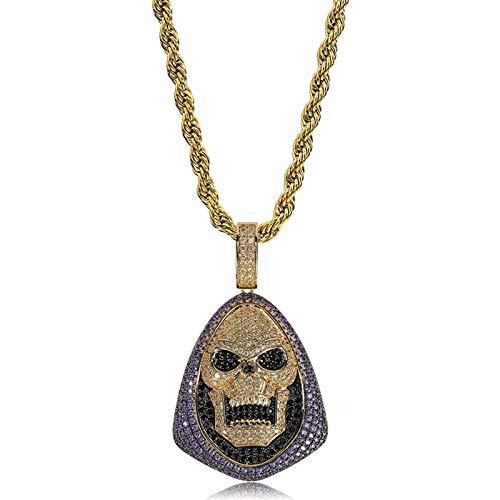 TSDLRH Zircon Skull Pendant Personality Hiphop Collana da Uomo Pendente Fashion Jewellry Presente per Uomo Donna Regalo