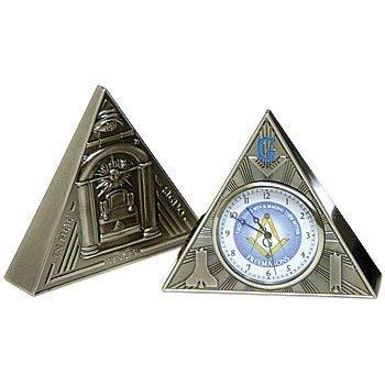 All Seeing Eye Triangular Masonic Desk Clock - [Antique Brass][2 5/8'' Tall]
