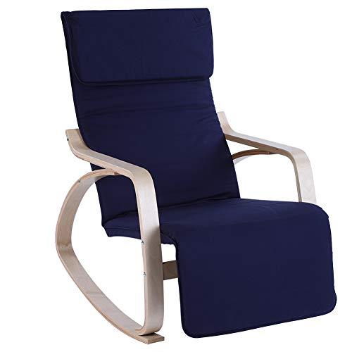 LRXG Mecedora Cómoda De Abedul De Primera Calidad, Sillón De Relajación Ajustable, Muebles Modernos De Oficina En Casa, Azul Oscuro
