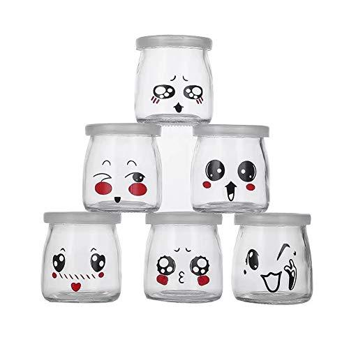 FFAN - Lote de 6 tarros de yogur de cristal con tapa, diseño de emoticono, 200 ml
