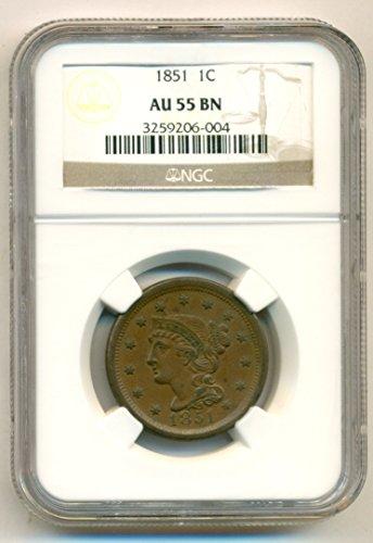 1851 Braided Hair Cent AU55 BN NGC