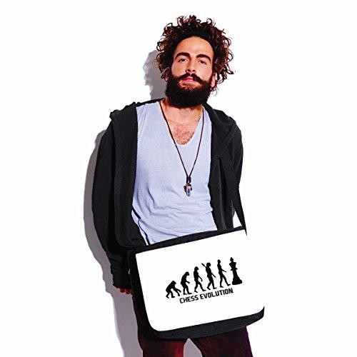 bubbleshirt Borsa a Tracolla Chess Evolution - Sport - Scacchi - Humor - Idea Regalo - in Poliestere Dimensioni 35x30x11,5 cm