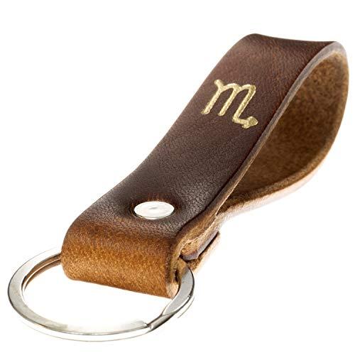 LIEBHARDT Schlüsselanhänger Leder mit Sternzeichen in Gold geprägt das Geschenk zum Geburtstag für deinen Lieblingsmensch ob Frau oder Mann Handmade in Germany (Skorpion)