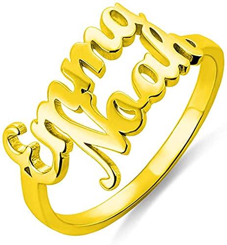 Scott Naismith Anillo de doble nombre personalizado Anillo de pareja Anillo de boda Anillo de compromiso (Plata de ley 925) Oro