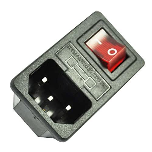 Bayda Enchufe de Corriente Entrada Macho con Interruptor Fusible 10A 250V 3 Pin IEC320 C14