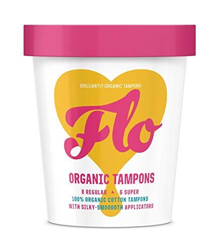 FLO Tampons applicateurs bio, fabriqués à partir de 100% coton bio, biodégradables, standard et super pack combo (14 pièces).