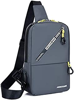 YODAY Bag body Chest Shoulder Water Resistant Travel Bag for Men Women Boys With Earphone Hole gray
