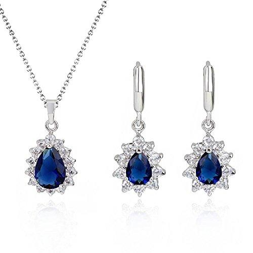 Lacrima Zaffiro simulato blu Cristalli austriaci di zirconi Purare Collana con ciondolo 45 cm Orecchini18 kt placcato oro bianco