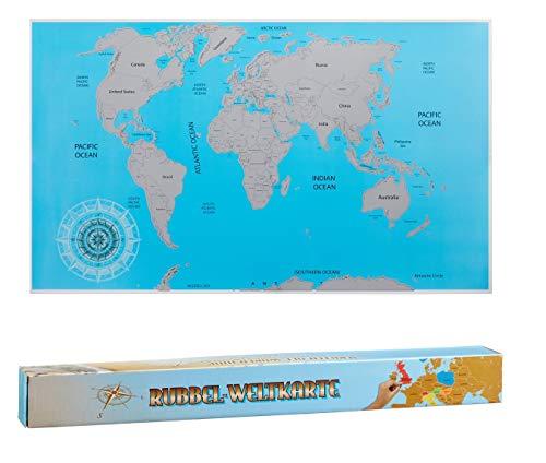 takestop® wereldkaart geodrafische kaart blauw, om te krassen, 88 x 52 cm, posterdagboek, reisdagboek, cadeau-idee, decoratie slaapkamer kantoor muur