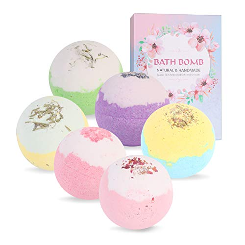 Eenten Bath Bombs Gift Set, 6 Pcs Different Scents Shower Bubble Bath Kit with Organic & Natural Sea Salt for Bubble & Spa Bath Women Wife Girlfriend Mothers Birthday Gifts for Relaxation Stress