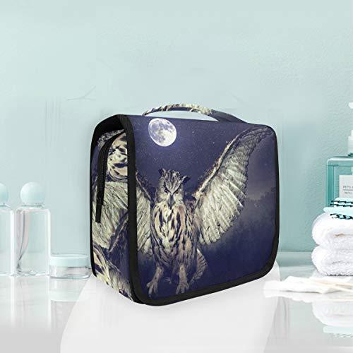 Maquillaje Bolsa de cosméticos Luna llena Noche Búho Bosque Almacenamiento portátil Bolsa de aseo de viaje