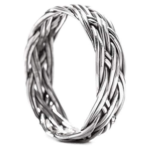 Windalf Viking Ring LOREDANE h: 0.5 cm Pagan Flechtmuster Antik Hochwertiges Silber (Silber, 60 (19.1))