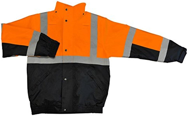 ERB Safety 62173 S106T Tall Class 2 Bomber and Black Jacket, Medium, Hi-Viz orange