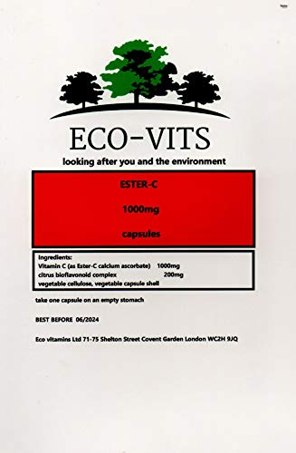 ECO-VITS Ester-C (1000MG) 30 CAPS. Biodegradable Packaging. Sealed Pouch
