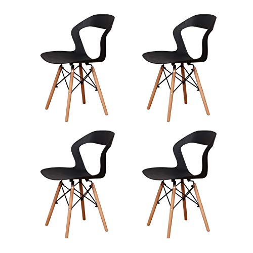Set di 4 sedie da cucina in plastica sedie da cucina gambe in legno massello sedie da salotto ergonomiche aperte da giardino (Black-B, 4)