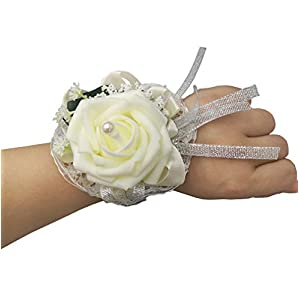 Silk Flower Arrangements MerryJuly Pack of 2 Girl Bridesmaid Wedding Wrist Corsage Party Prom Artificial Foam Flower (Ivory2 Pieces)