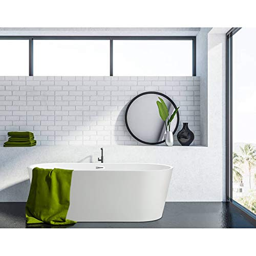 Vanity Art 59 Inch Freestanding Acrylic Bathtub Modern Stand Alone Soaking Tub with Chrome Finish UPC Certified Slotted Overflow and Pop-up Drain VA6815-S