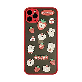 YLFC Cute Clear Cartoon Strawberry Bear Korean Phone Case for iPhone 11 Pro Max Xr X Xs Max 7 8 Puls SE 2020 Cases Hard TPU Cover  Color   A Size   for iPhone 7 Plus