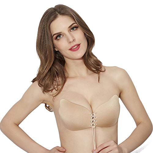 Strapless Bra Sticky Self Adhesive Invisible Push up Bra for Backless and Strapless Dresses,Tops etc. Beige