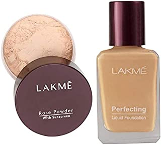 Lakme Rose Face Powder, Soft Pink, 40g & Lakme Perfecting Liquid Foundation, Pearl, 27ml
