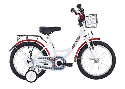 Vermont Kinder-Fahrrad Karo weiß 16 Zoll |1-Gang-Kinder-Rad, Stützräder, Klingel und Fahrradkorb