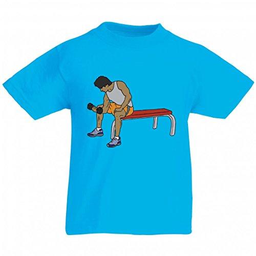 Camiseta de gimnasio, banco, peso, elevador de ventana, gimnasio, músculos, mancuernas, hierro, metal, culturismo para hombre, mujer, niños, 104 – 5 XL azul Para Hombre Talla : XX-Large