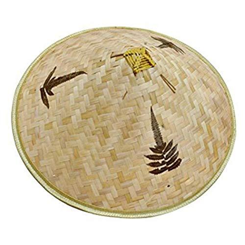 Unicoco Pesca Chino Retro De Bambú Ratán Sombrero En La Mano De La Armadura De Does Naturales De Bambú Hueco Del Enrejado De Salida Trenza Cap Sombrero De La Pesca Del Visera