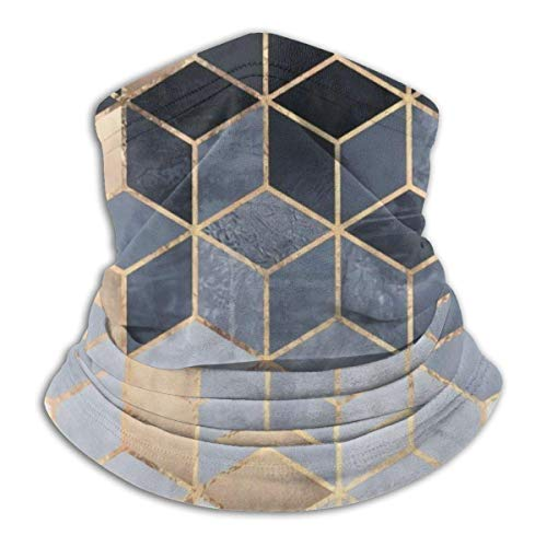 IZOU Soft Blue Gradient Cubes Neck Gaiter Face Mask,Multifunction for Man Women seasons Magic Scarf Bandana Balaclava