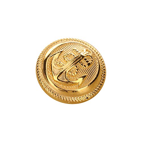 12PCS Polished Golden Anchor Buttons with Shank Vintage Style Sport Coat Blazer Button Set 21mm