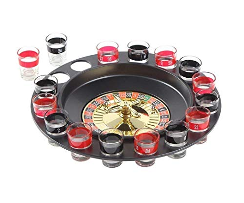 Ohuhu Juego de Beber Ruleta Embalaje de Regalo Juego de Beber para Adultos con 16 Vasos y 2 Bolas Drinking Roulette Set