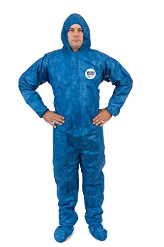 ViroGuard Disposable Coveralls Suit with Hood Comfortable Full Body Splash Suit Protection for Cleaning (5XL, Elastic Wrist, Hood & Boots) (Case of 25)