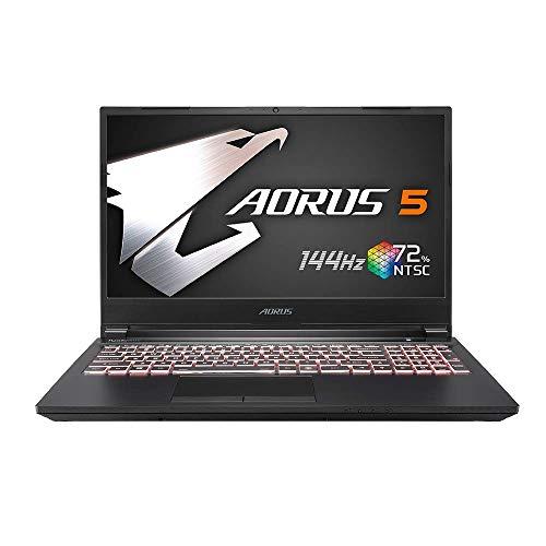 GIGABYTE AORUS 5ゲーミングノート /15.6インチ 狭額縁 72 % NTSC, 5ms応答速度 /Win10 (144HZ   RTX 2060   i7-10750H   8G*2  512G SSD)