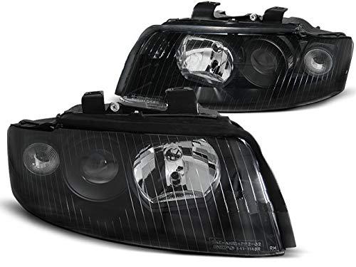 Faros compatibles con Audi A4 B6 2000 2001 2002 2003 2004 GV-1122 luces delanteras de coche, faros delanteros del lado del conductor y del pasajero, conjunto completo de faros delanteros negro