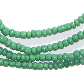 Ghanaian Glass Beads The Bead Chest 2 Strands TheBeadChest Green Ghana Glass Beads